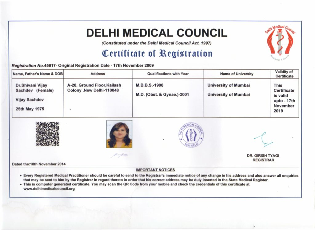 Dr Shivani delhi medical council