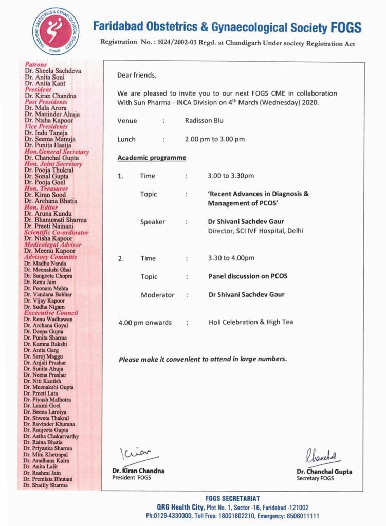 Faridabad Obstetrics & Gynecological Society FOGS CME